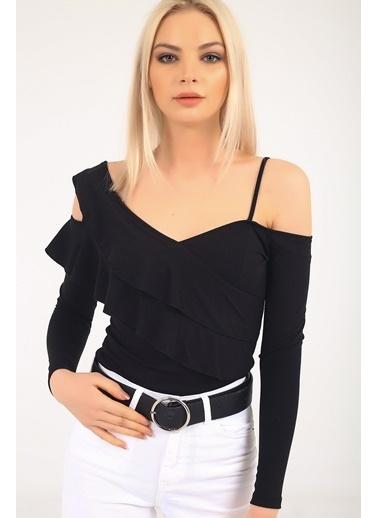 Emjey Özel Tasarım Askılı Kol Detaylı Bluz Siyah